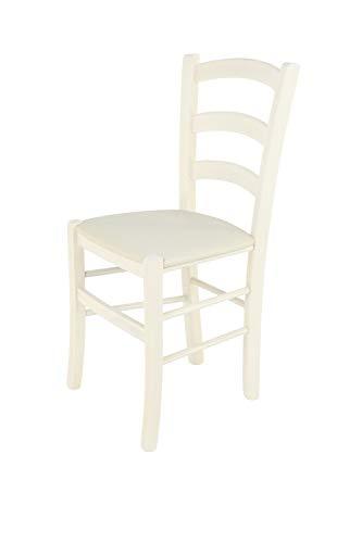 Tommychairs sillas de Design - Set 1 Silla Modelo Venice para Cocina, Comedor, Bar y Restaurante, Estructura en Madera de Haya Color anilina Blanca y Asiento tapizado en Tejido Color Marfil