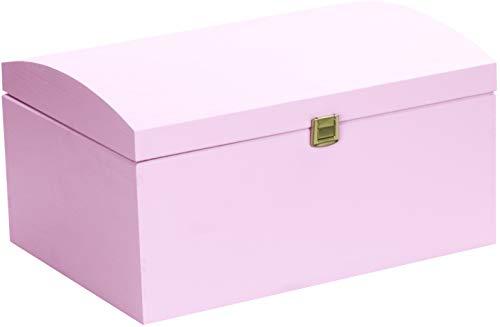 LAUBLUST Große Holztruhe gewölbter Deckel - 35x25x19cm, Rosa, FSC®   Allzweck-Kiste aus Holz - Aufbewahrungskiste   Erinnerungsbox   Spielzeug-Truhe   Geschenk-Verpackung   Deko-Kasten zum Basteln