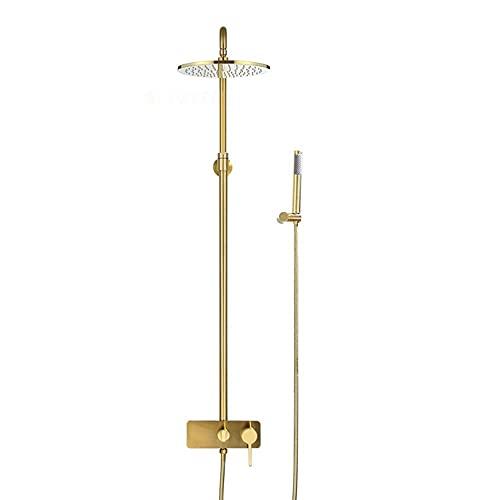 SSYS Sistema de Ducha Dorado Cepillado con caño para bañera, baño montado en la Pared, 3 Funciones, Grifo Monomando para Ducha de baño, latón