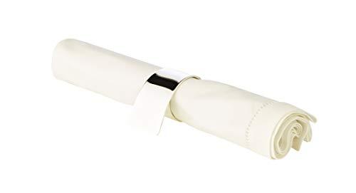 LORENA LIVING 4X Serviettenring PIA, versilbert und anlaufgeschützt, inkl. Geschenkverpackung, Premiumqualität, Ø 3,5 cm, geschwungene Serviettenhalter in Silber, als Tischdekoration