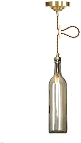 DHFUIH Lámpara Colgante Industrial Retro con Botella de Vidrio Multicolor, Acabado de latón, Alambre Trenzado Vintage Ajustable, lámpara Colgante de Techo Loft Bar E27 - Verde