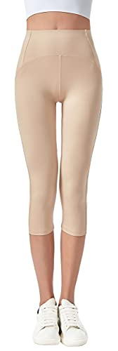 Jophy & Co. 3/4-Leggings für Damen, elastisch, für Yoga und Pilates, Artikelnr. 9901)., beige, Large