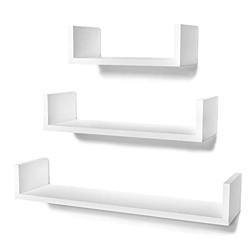 STOREMIC Estantes flotantes en Forma de U, fáciles de Instalar, estantes de Pared, Juego de 3, estantes de Pared Blancos de 30 cm, 45 cm, 60 cm para Cocina, Sala de Estar, baño y Dormitorio