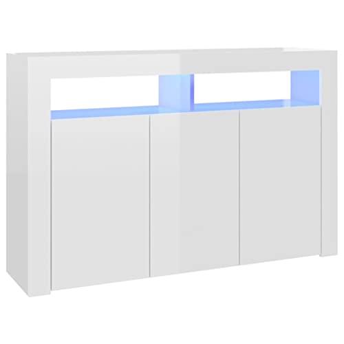 vidaXL Sideboard mit LED-Leuchten Kommode Anrichte Schrank Beistellschrank Mehrzweckschrank Standschrank Flurschrank Hochglanz-Weiß 115,5x30x75cm