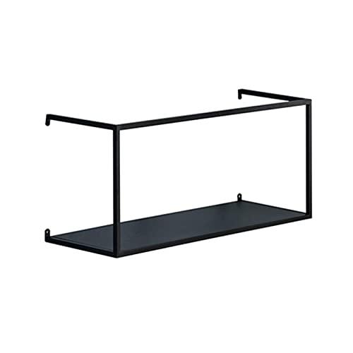 HJW Praktische opbergrek drijvende plank geometrie Stereoscopisch Metaal Zwart, Home Opknoping Opbergrek Stand voor Woonkamer Hal, Kantoordecoratie Display 1Huiyang-01020,55cm