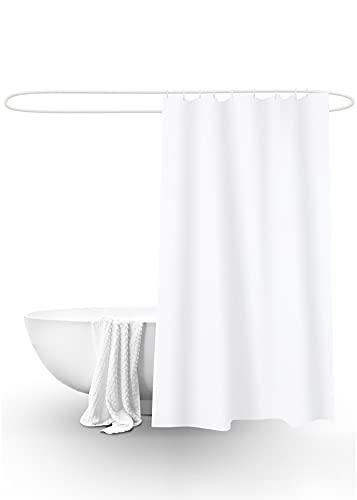 DALINA TEXTIL Cortina de Ducha para Baño Impermeable de Tela Poliéster con Estampado de Blanco. (180x180CM)