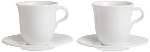 De'Longhi Cappuccinottassen Set DLSC309 – 2 handgemachte Keramik Tassen mit Untertassen, mikrowellen- & spülmaschinengeeignet, 270 ml, Weiß