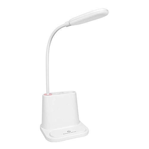 Lámparas de Mesa Lámpara de Escritorio Recargable USB multifunción LED Estudiante Aprendizaje Cuidado de los Ojos Lámpara de Mesa Interruptor táctil de Oficina (Color: Blanco)