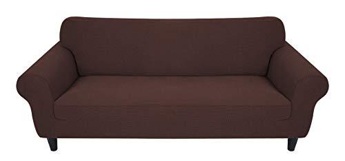 MR.COVER Funda para sofá de 3 plazas, color marrón, muy elástica, de poliéster, antideslizante, impermeable y agradable al tacto, para sofá de 3 plazas de 190 a 230 cm de largo