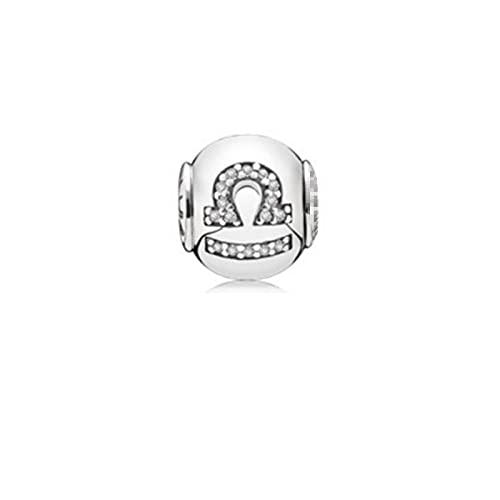 LISHOU Mujer Pareja Regalo S925 Plata De Ley Clásico Doce (12) Meses Constelación Pandora Brazalete Pulsera Encantos Cuentas DIY Fabricación De Joyas T9-Libra