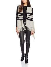 Only Onlbern Draped Waistcoat Knt, Gilet Donna, Multicolore (Black Stripes:W.MELANGE /PUMICE STONE), M(DE)