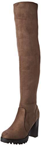 Elara Damen Stiefel Overknee High Heels Absatz Chunkyrayan 0-96-Khaki-39