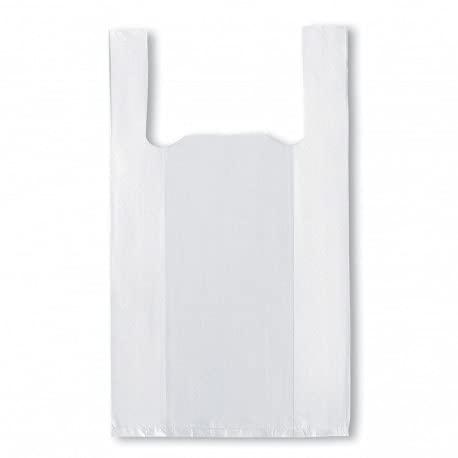 ACESA - Bolsa de Plástico + 70% reciclado Tipo Camiseta Resistentes con Asas. 70% recicladas y Reutilizables, 50 micras Aptas para Uso Alimentario 120 unidades. (30x40, blanco)