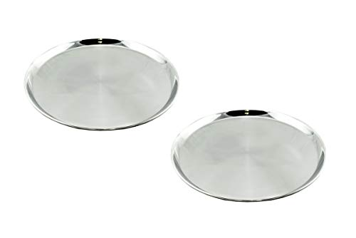 Hostelnovo - Pack 2 bandejas Camarero Redondas - Diámetro: 40 cm - Acero Inoxidable - Ideal para Catering y Servicios a la Mesa - Transporte de Alimentos y Bebidas Seguro y Elegante