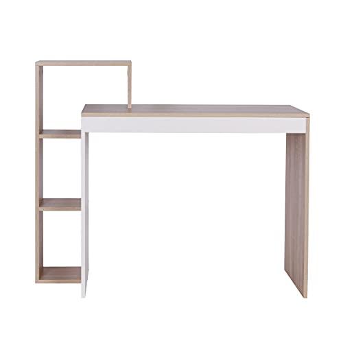 Schreibtisch Computertisch Büromöbel Bürotisch mit Ablage mit Regal Home Office 110 x 91 x 40 cm Holz SLST02-HOL