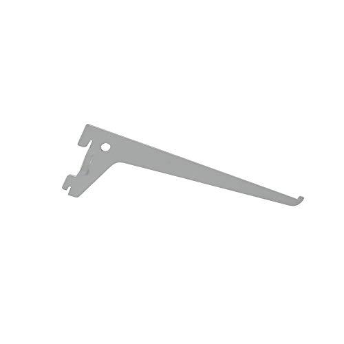 Toolerando Escuadra de estante para perfil cremallera perforación simple/Soporte de estantes para rieles de pared, 1 gancho/Cartela simple - Longitud: 500 mm, plateado