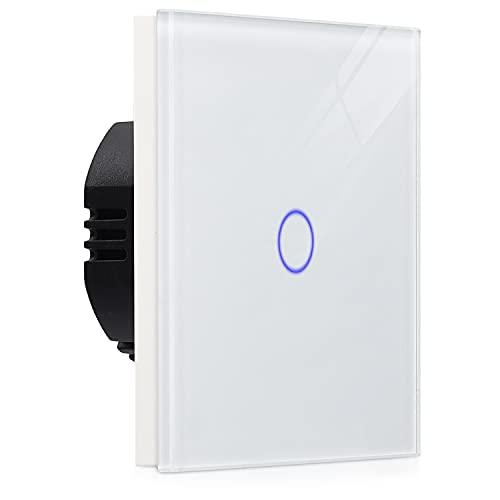Navaris Touch Lichtschalter Wandschalter - mit Montagematerial Glas Panel und Status-LED - Licht Schalter für innen außen - Einbauschalter Weiß