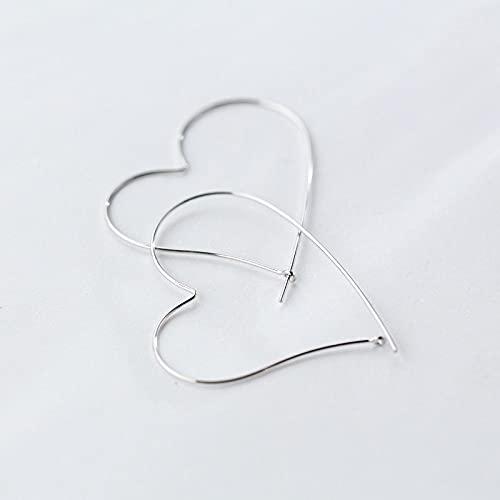 FEIHUI Pendientes Mujer Plata, Creativo Hueco Exagerado Corazón De Amor De 45 Mm Simple Rock Pendientes Hipoalergénicos Exquisito Círculo Joyería De Bucle Sin Fin para Dama Hombres Niñas Novia Casars