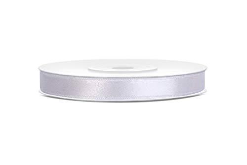25m x 6mm Rolle Satinband Geschenkband Schleifenband Dekoband Satin Band (Weiß)