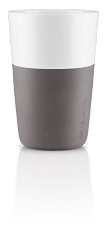 EVA SOLO 501022 Latte-Becher, 2-teilig, Silikonschale, 360 ml, Porzellan, Elephant Grau, 8,5 x 8,5 x 12,5 cm