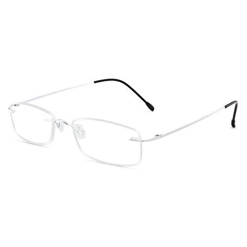 Titanium Reader Men Women Lightweight Rectangular Rimless Reading Glasses 100 150 200 250 300 350(1.0)