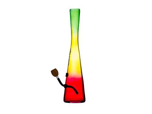 Bullet - Hollandbong - 38cm Bong mit Aluchillum und Holzköpfchen mit Gewinde - Farbe: Reggae Farben - mit Kickloch