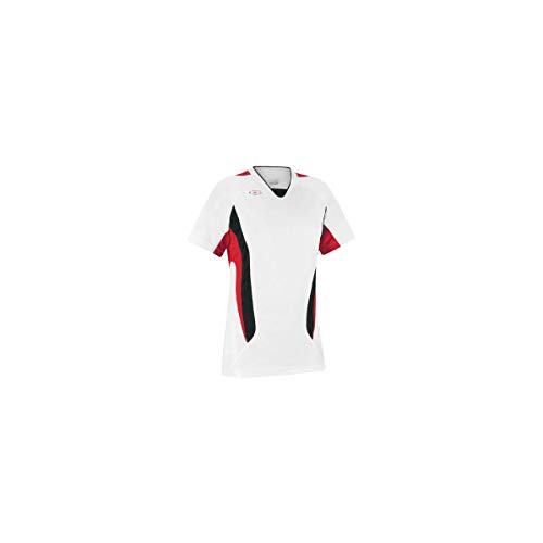 Xara Women's Fit Hawthorne Soccer Jersey, White/Red/Black - Adult Large