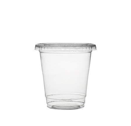 50 Stück Kunststoffbecher mit Deckel | Eiskaffeebecher mit Deckel | Smoothie-Becher mit Deckel – 225 ml