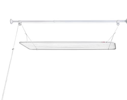 ERIC Tendal de Techo 100x50cm, Mini Tendedero de Techo, Barra Extensible Integrada (110-160cm), Tendedero Vertical Plegable, Tendedero Colgante de Metal con Recubrimiento Plástico Libre de PVC, Blanco