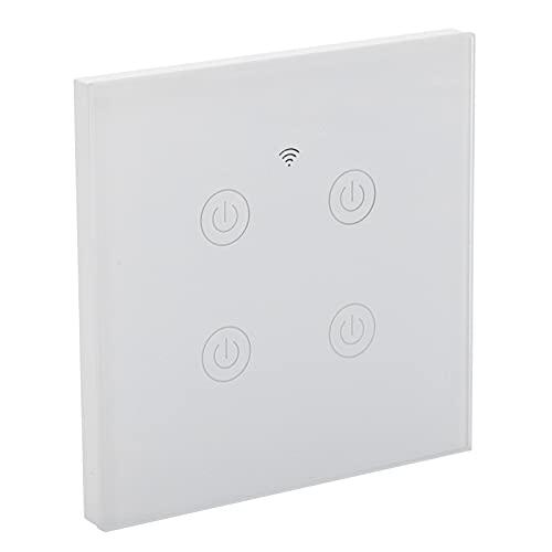 Interruptor de luz inteligente, panel táctil, interruptor inteligente de 4 vías, retardante de llama LED para oficina para el hogar(Wifi, rosado)