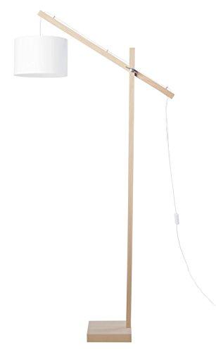 Tosel 95366lámpara de pie de e-Book 1luz, madera, E27, 40W, blanco, 80x 180cm