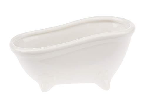 Keramik-Seifenschale Badewanne, 15x7x7,2cm, weiß glänzend Deko-Schale Ablageschale