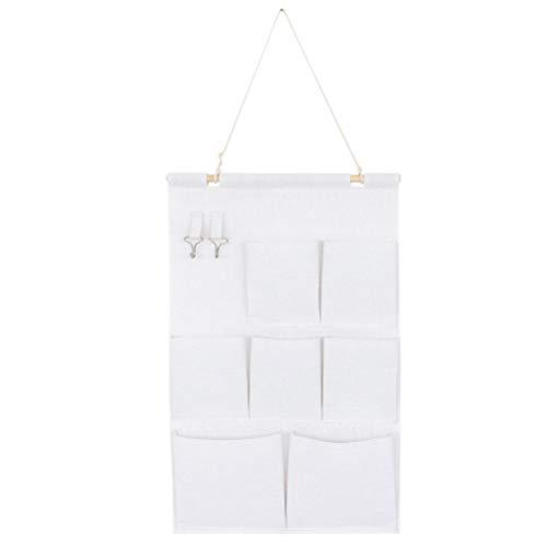 Cabilock - Práctico organizador creativo de algodón y lino, bolsa de almacenamiento para colgar en la pared, puerta, armario, bolsa de almacenamiento (con palillo de madera, siete bolsillos)