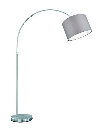 lightling modern Bogenleuchte in nickel matt, Stoffschirm grau, 1 x E27 max. 60W, ø 30 cm, Höhe: 150-215 cm