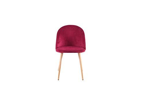Sweethome - Juego de 4 sillas de comedor de terciopelo, diseño moderno, tapizado de metal, Rojo, 53.5 x 51 x 80 cm