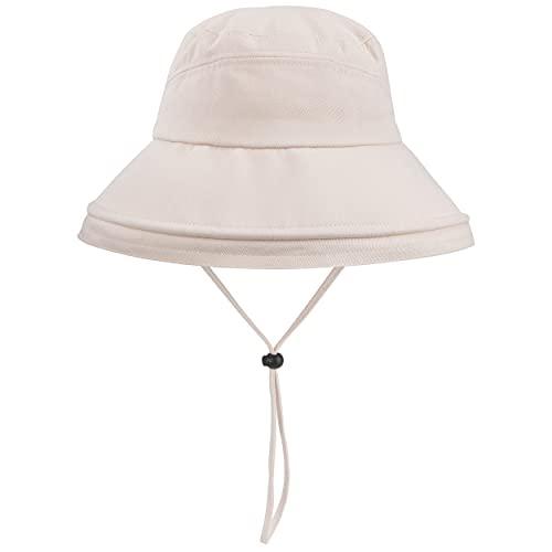 Chapeau de Soleil Large Bord Seau Chapeaux Coton Sun de Protection Chapeau Coupe-Vent avec Jugulaire pour Femme Plein Air