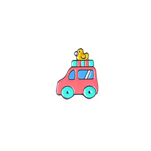 ROTOOY Transportsammlung Emaille Pin Cartoon Fahrrad Auto Bus Boot Motorrad Brosche Anstecknadel Button Abzeichen Funny Gift-Duck_car