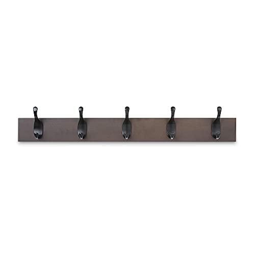 Amazon Basics - Perchero de madera de pared, 5 ganchos modernos 57 cm, Café