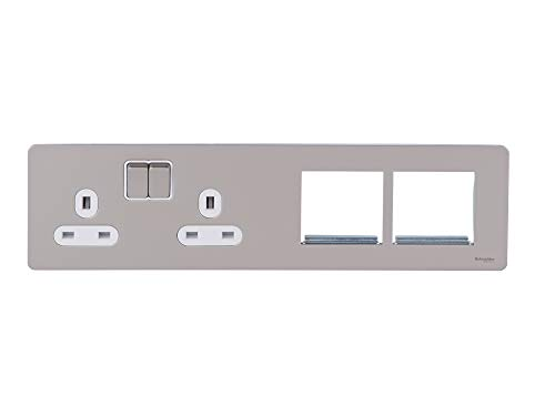 Schneider Electric GU34202DMPWPN Ultimate-screwless Flat Plate, Switched Socket, 2 x 2P + E con persianas-blanco