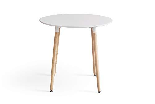 sweethome Esstisch, 80 cm, modernes Retro-Design, runder Schreibtisch mit Beinen aus natürlichem Buchenholz, Weiß (nur Tisch)
