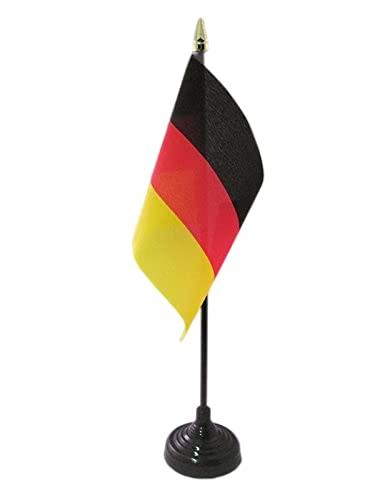 AZ FLAG TISCHFLAGGE Deutschland 15x10cm goldene splitze - DEUTSCHE TISCHFAHNE 10 x 15 cm - flaggen