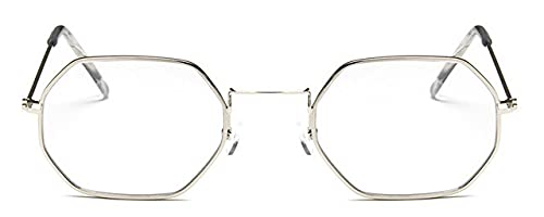 LOPIXUO Gafas de sol Señoras hexagonales sunglassemetal mujeres moda sin monturaclaro océano lentes gafas de sol, plata v transparente