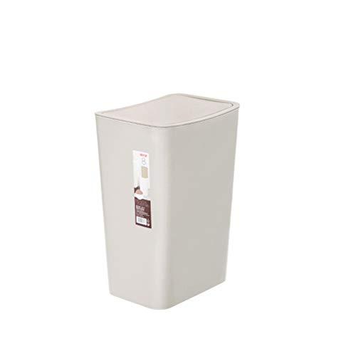FZWAI Plastic Desk Trash Bin woonkamer Waste Can vuilnisbak met schommel Deksel (Color : White)