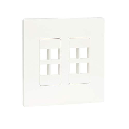 Tripp Lite 8-Port Universal Keystone Double-Gang Wall Plate, 2-Gang Faceplate, Adaptable, TAA, White (N080-208)
