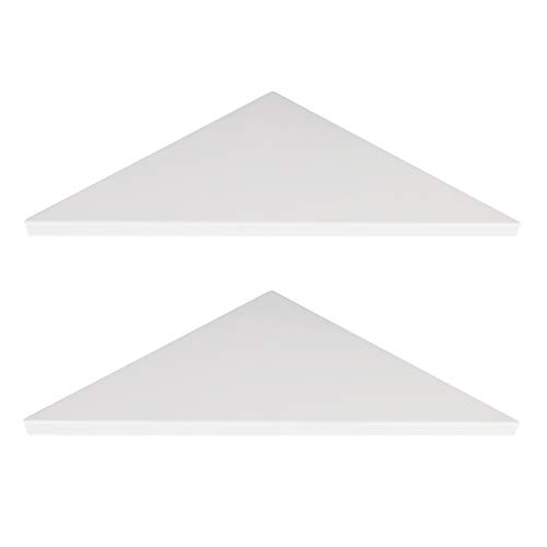 Evron Corner Mounting Shelf,Easy to Install Wall Corner Shelf,Set of 2 (White Frosting Pattern Right-Angled)
