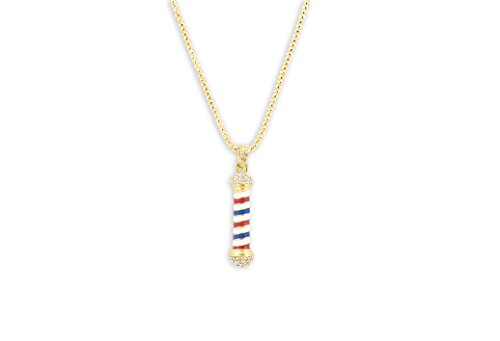 Rhinestone Barber Pole Necklace w/Key Ring (Gold)