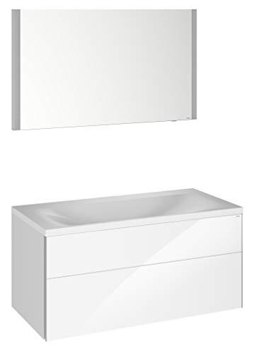 Keuco Badmöbel-Set mit Waschtisch, Waschtisch-Unterbau mit Frontauszug Hochglanz-weiß, LED Licht-Spiegel dimmbar, Breite 100 cm Royal Reflex