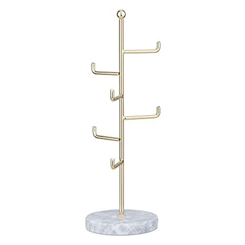 Navaris Soporte para Joyas y Accesorios - Árbol joyero cuelga Collares Pendientes Pulseras Cadenas y Anillos - Porta joyería de Metal con 6X Barra