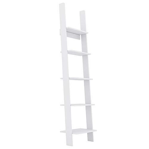 GLmeble - Estante de escalera para libros, un excelente objeto de decoración, así como un espacio de almacenamiento funcional (Blanco, 45 cm)