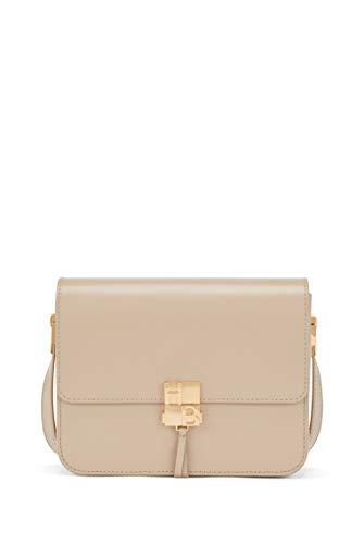 BOSS Damen Ella Should Bag Umhängetasche aus beschichtetem Leder mit Monogramm-Verschluss